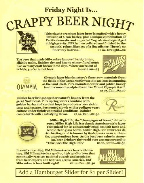 crappy beer night